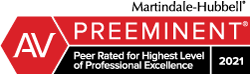 Martindale-Hubbell AV rating for exemplary professional skill and integrity